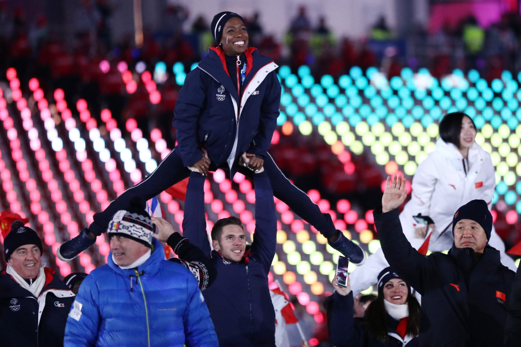 Figure skaters Vanessa James and Morgan Cipres of France participate during the Closing Ceremony of the PyeongChang 2018 Winter Olympic Games on February 25, 2018.