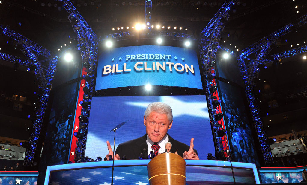 The 42nd President of the United States Bill Clinton addresses the audience at the Time Warner Cable Arena in Charlotte, North Carolina, on September 5, 2012 on the second day of the Democratic National Convention (DNC). The DNC is expected to nominate US President Barack Obama to run for a second term as president on September 6th.