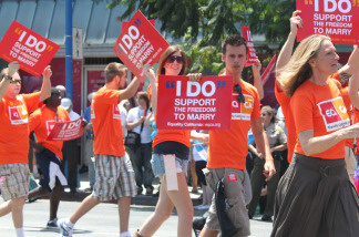 Activists in support of same-sex marriage march in the parade for L.A. Pride 2010 in West Hollywood, Calif. on Sunday, June 13, 2010.