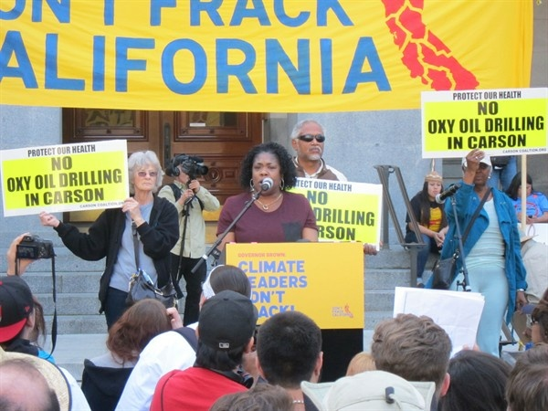 Latrice Carter of Carson California at anti-fracking rally in Sacramento.