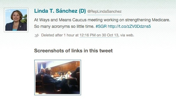 Tweet deleted by Linda Sanchez caught by Politwoops.