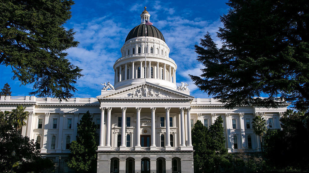 The dome and exterior of the California State Capitol building in 2015, in Sacramento.