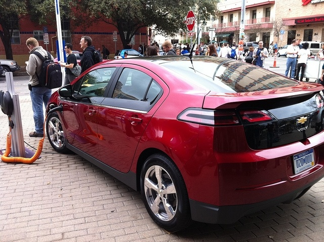 A Chevy Volt parked outside the Austin Convention Center.