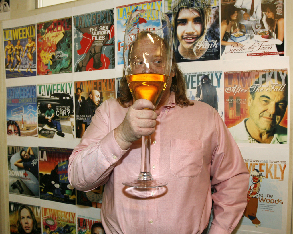 Jonathan Gold in the L.A. Weekly offices in 2007 celebrating his Pulitzer Prize. He remains the only food critic to have won the honor.