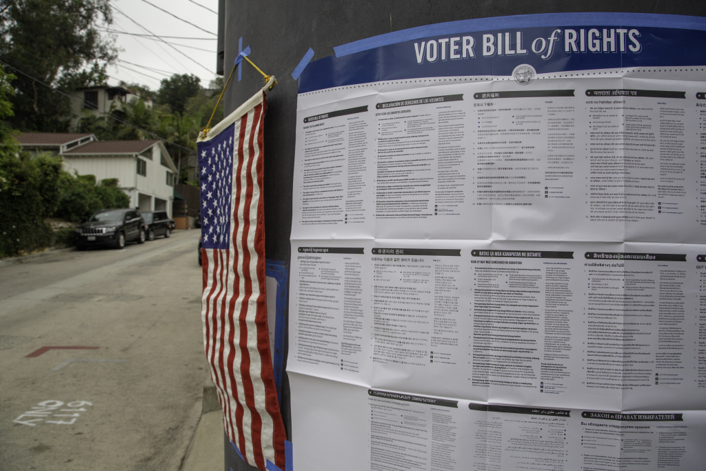 A polling station in Beachwood Canyon, a Hollywood Hills neighborhood in Los Angeles, on Tuesday, June 5, 2018.