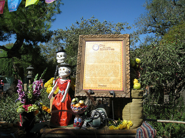 "Part of Disneyland's Day of the Dead decor in 2008. Disney Enterprises, Inc. has filed several trademark applications for the phrase ""Dia de Los Muertos."""