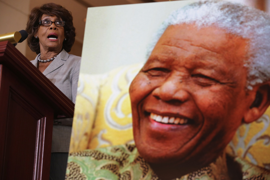 WASHINGTON, DC - JULY 18:  Rep. Maxine Waters (D-CA) delivers remarks during a ceremony to celebrate the life Nobel Peace Prize laureate and former South Africa President Nelson Mandela on the occasion of his 95th birthday in the U.S. Capitol Visitor Center July 18, 2013 in Washington, DC.