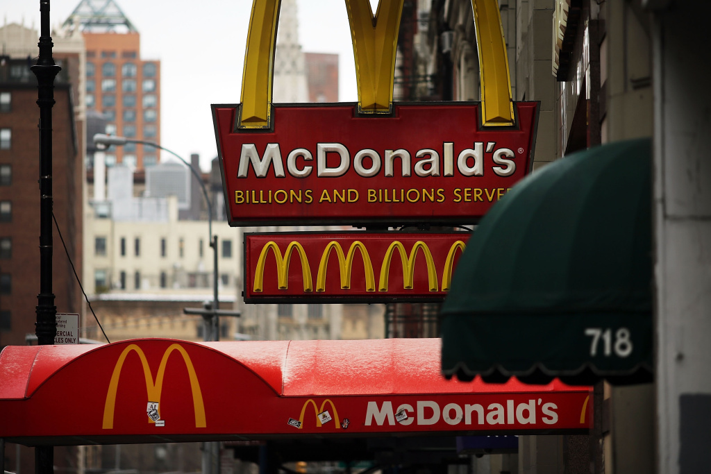 A McDonald's sign hangs in lower Manhattan on February 9, 2015 in New York City.