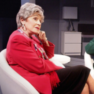 """Marcia Rodd plays literary critic Mary McCarthy and Dick Cavett plays himself in the stage play, """"Hellman v. McCarthy,"""" which dramatizes a famous literary feud that played out on Cavett's former talk show."""