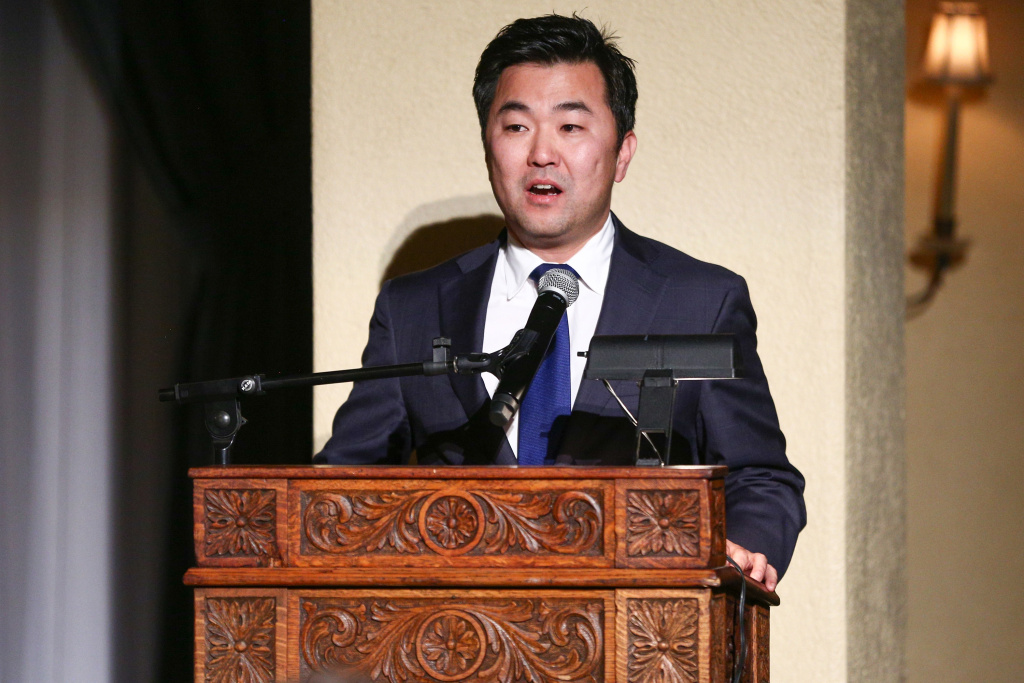 Councilmember David Ryu speaks onstage during the Stories From The Front Line charity program at the Ebell of Los Angeles on February 27, 2018 in Los Angeles, California.  (Photo by Rich Fury/Getty Images)
