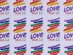 Corita Kent was commissioned by the U.S. Postal Service in 1985 to create the LOVE stamp, which has sold more than 700 million copies.