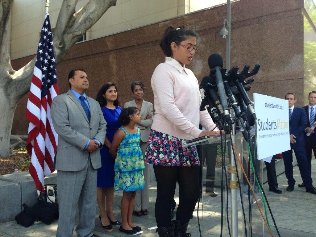 Julia Macias, one of nine plaintiffs in the Vergara v. California trial, welcomes a judge's ruling striking down teacher job protections.