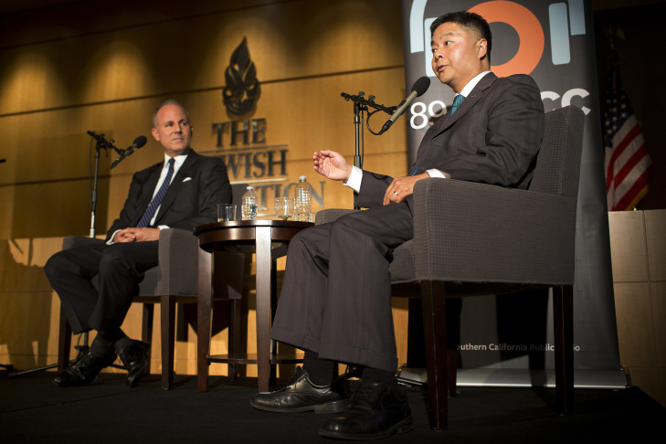 Congressional candidates Elan Carr, left, and Ted Lieu shake hands after taking part in a debate at The Jewish Federation of Greater Los Angeles on Wednesday night, Oct. 22, 2014. The event was jointly presented by KPCC and USC's Unruh Institute of Politics.