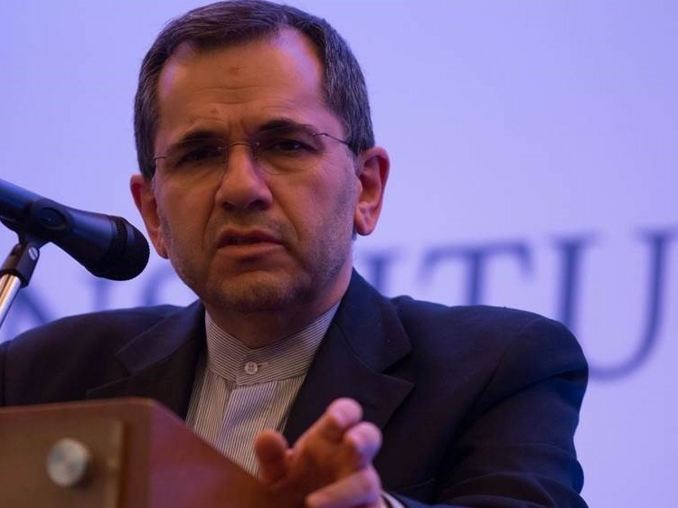 Majid Takht Ravanchi, Iran's ambassador to the United Nations, pictured here in 2015 at a news conference in Mexico City. In an exclusive interview with NPR, Ravanchi said flaring tensions between Washington and Tehran have made diplomatic talks hostile.