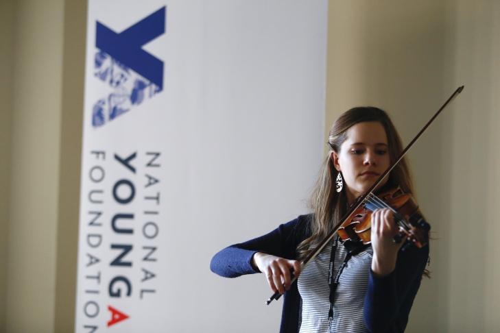 Violinist and educator Daniel Bernard Roumain rehearses his students at YoungArts Los Angeles.