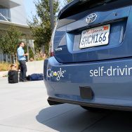 A Google self-driving car is displayed at the Google headquarters on September 25, 2012 in Mountain View, California.