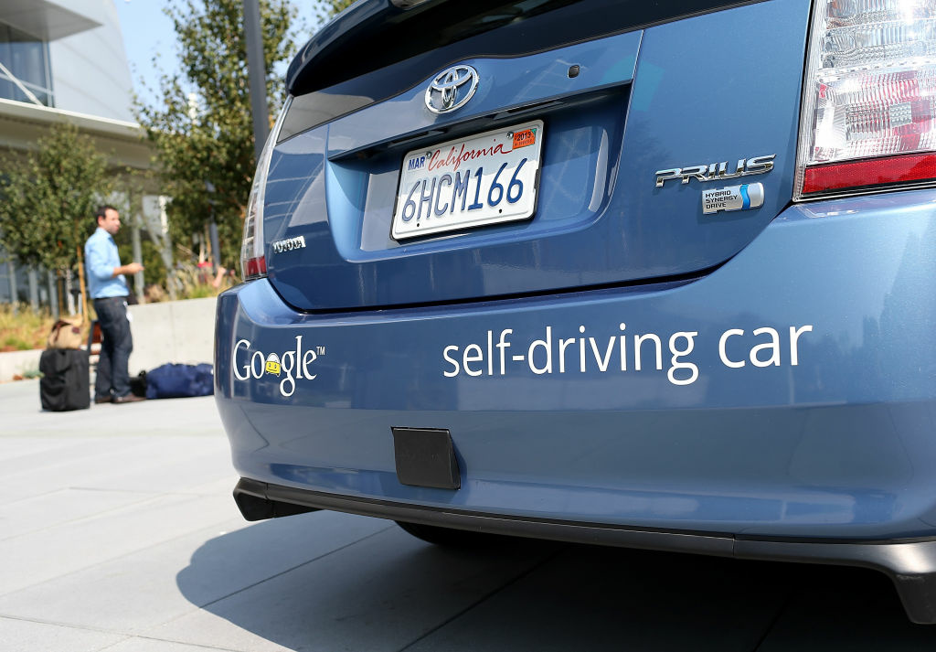 A Google self-driving car is displayed at the Google headquarters.