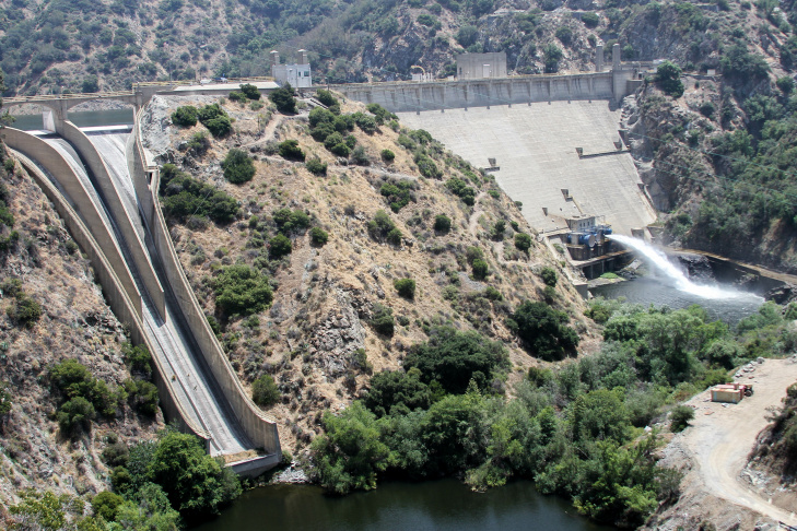 Water coming down the Los Angeles Aqueduct Cascades is slowed by the stair-like concrete baffle chutes.