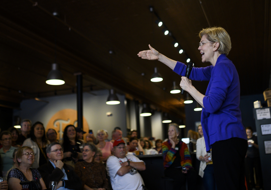 Democratic presidential candiate Sen. Elizabeth Warren (D-MA) speaks to a crowd during a campaign stop at Fat Hill Brewing on May 4, 2019 in Mason City, Iowa
