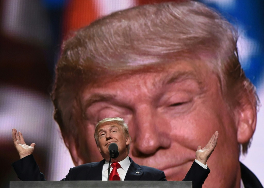 Republican presidential candidate Donald Trump addresses delegates at the end of the last day of the Republican National Convention in Cleveland.