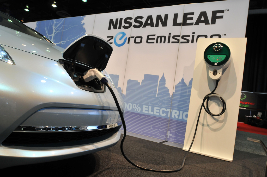 The Nissan Leaf prototype electric car on display during the press preview for the world automotive media North American International Auto Show in 2010.