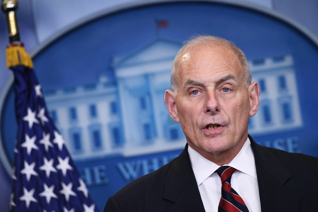 File: Then-Homeland Security Secretary John Kelly speaks in the Brady Briefing Room of the White House on May 2, 2017 in Washington, D.C.