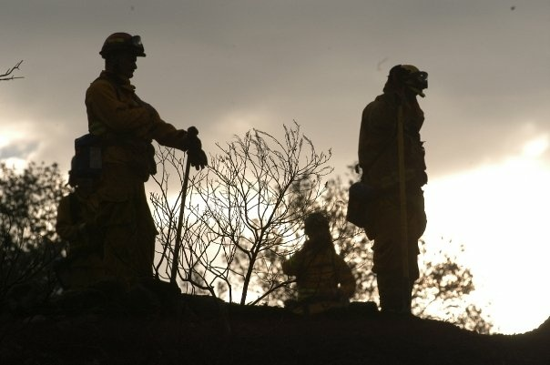 A hand crew takes a break during the 2007 Santiago Fire in Orange County.