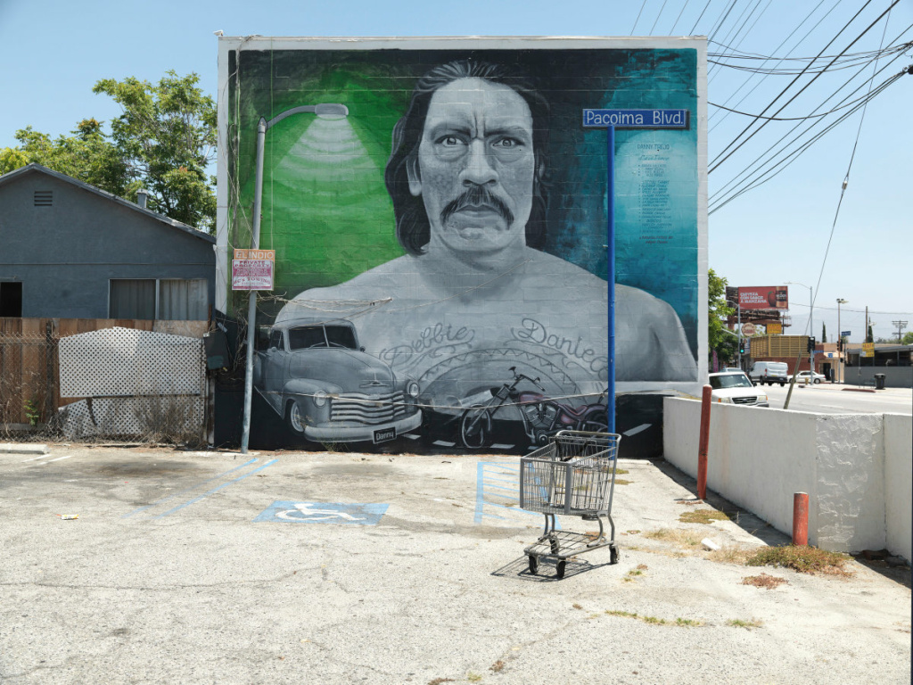 """""""Danny"""" mural by Levi Ponce in Pacoima is part of Ken Gonzales-Day solo exhibition, """"Surface Tension: Murals, Signs and Mark-Making in L.A,"""" at the Skirball Cultural Center."""