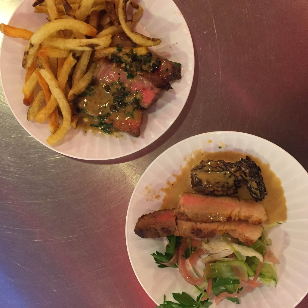Belcampo Meat Co. serves local, organic, grass fed meat they process themselves. Peppercorn steak with crispy french fries and pork with a hearty side of mushroom are some of their Grand Central Market offerings.