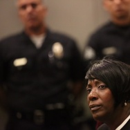 LOS ANGELES, CA - JUNE 09: Tritobia Ford, the mother of Ezell Ford, LAPD headquarters on June 9, 2015 in Los Angeles, California. The civilian board that oversees the Los Angeles Police Department will decide on whether two officers violated department policy when they shot and killed Ezell Ford last summer in South L.A.
