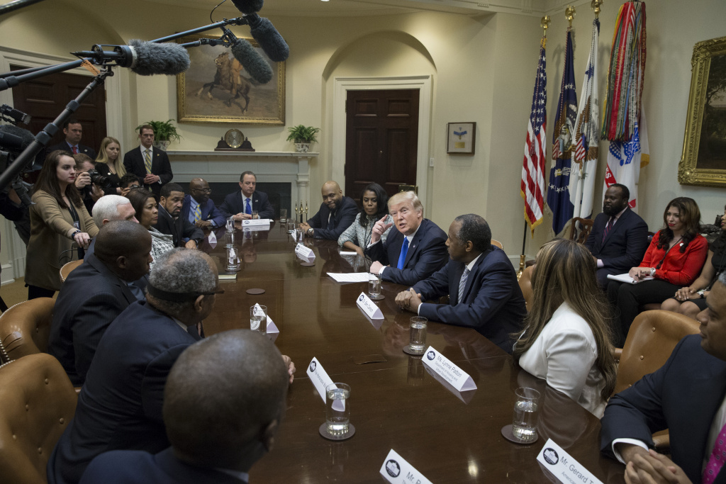 WASHINGTON, DC - FEBRUARY 1:  (AFP OUT) President Donald Trump holds an African American History Month listening session in the Roosevelt Room of the White House on February 1, 2017 in Washington, DC. (Photo by Michael Reynolds - Pool/Getty Images)