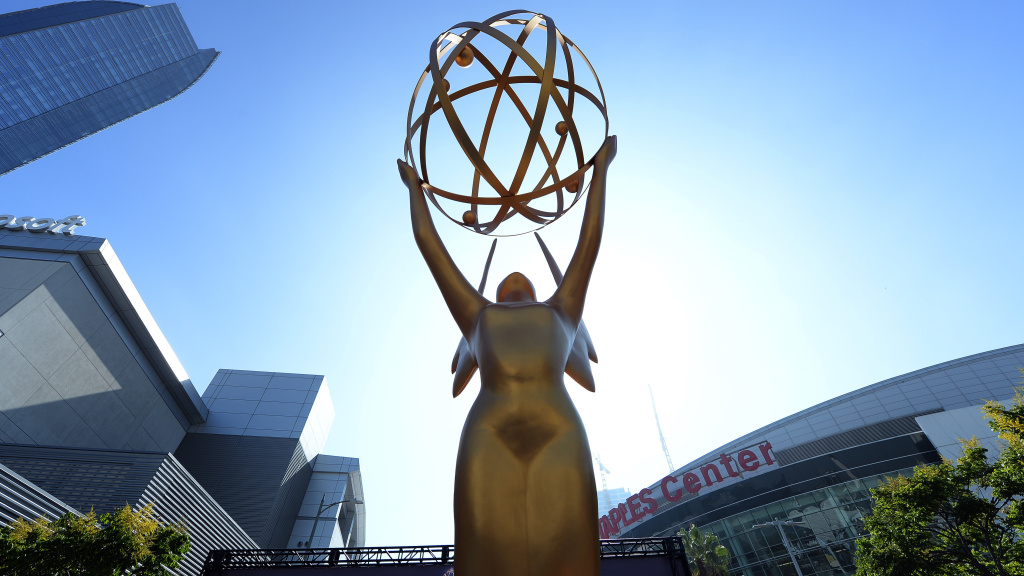 An Emmy statue at the entrance of the gold carpet at the entrance for the 70th Emmy Awards.