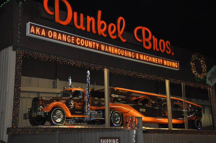 Christmas decorations outside Dunkel Brothers Machinery Moving in La Mirada, CA.