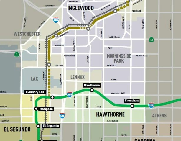 Image shows southern portion of proposed route of Crenshaw/LAX transit corridor.