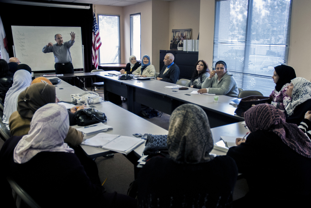 An English as second-language class at the Anaheim, Calif. offices of Access California Services, an organization that aims to address the needs of Anaheim's Arab American population. A study on so-called