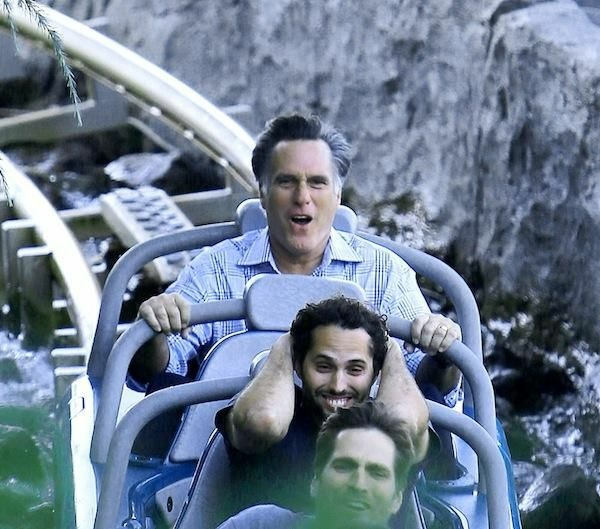 Mitt Romney enjoying Splash Mountain at Disneyland