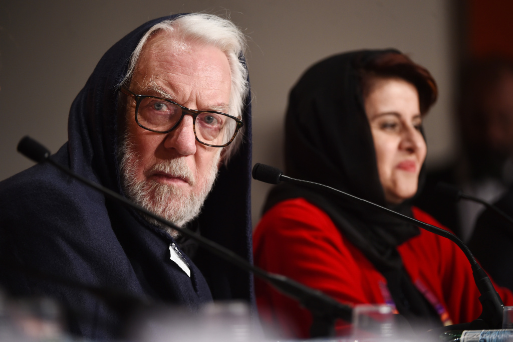 Jury members Donald Sutherland and Katayoon Shahabi attend the jury press conference during the 69th annual Cannes Film Festival at Palais des Festivals on May 22, 2016 in Cannes, France.