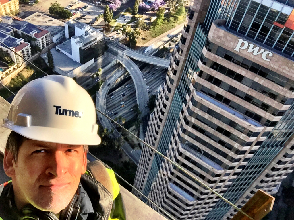 Off-Ramp host John Rabe on the 69th floor of the Wilshire Grand in Downtown Los Angeles