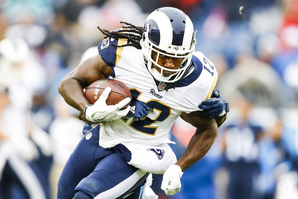 Wide receiver Sammy Watkins #12 of the Los Angeles Rams carries the ball against the Tennessee Titians at Nissan Stadium on December 24, 2017 in Nashville, Tennessee.