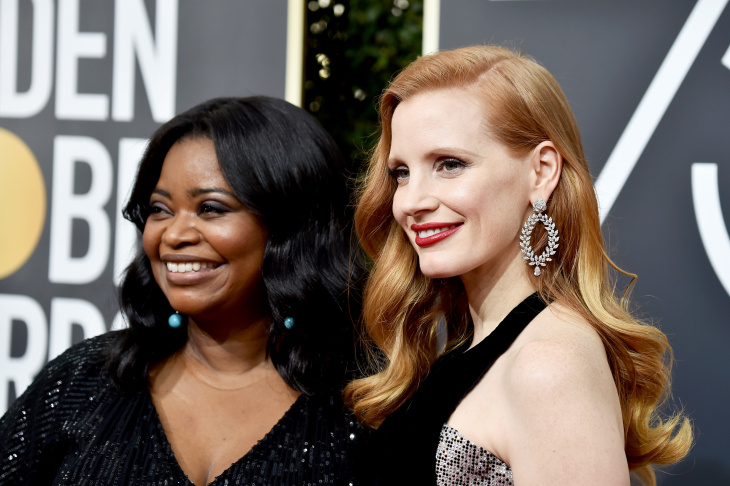 Ocatvia Spencer and Jessica Chastain were among the actresses who wore black at the Golden Globe Awards.