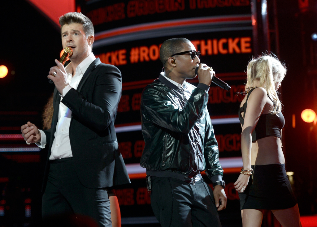 Robin Thicke (L) and Pharrell Williams perform during the 2013 BET Awards at the Nokia Theatre.
