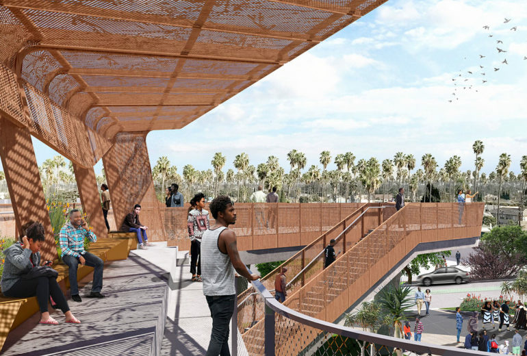 An artist rendering of the future Destination Crenshaw project that will feature the art of hundreds of artists displaying African American history and culture in South Los Angeles.