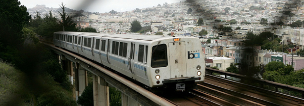 A Bay Area Rapid Transit (BART) train pictured in San Francisco, California.