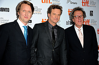 Director Tom Hooper & stars Colin Firth and Geoffrey Rush of this year's Toronto Film Festival winner, 'The King's Speech.'