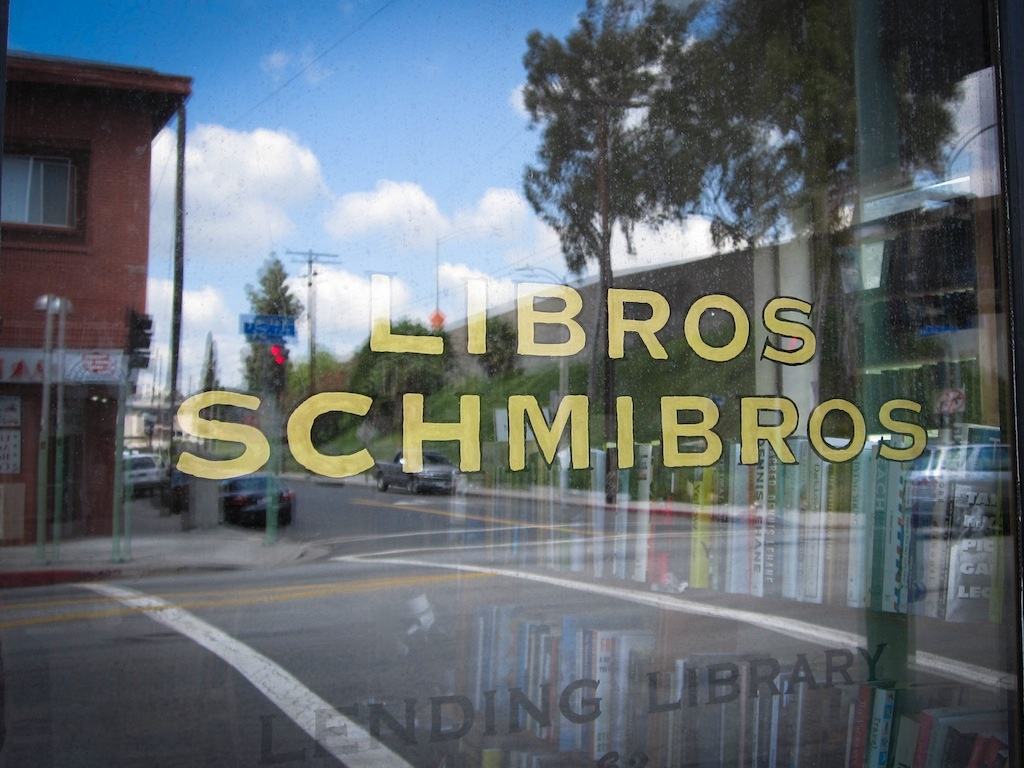 The window to Libros Schmibros, a lending library on the western edge of Boyle Heights.