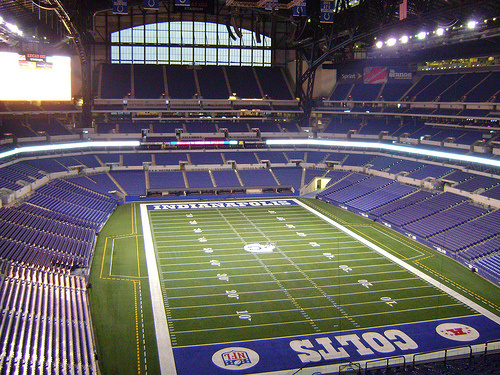 Lucas Oil Stadium in Indianapolis, home to Super Bowl XLVI, 2012, featuring the New England Patriots versus the New York Giants.