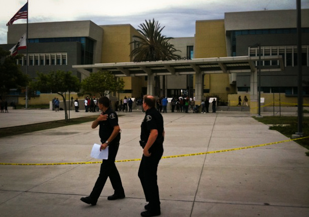 LA Unified School district police outside Southeast High School in South Gate after a stabbing that ended in the death of a female student on Sept. 30, 2011.