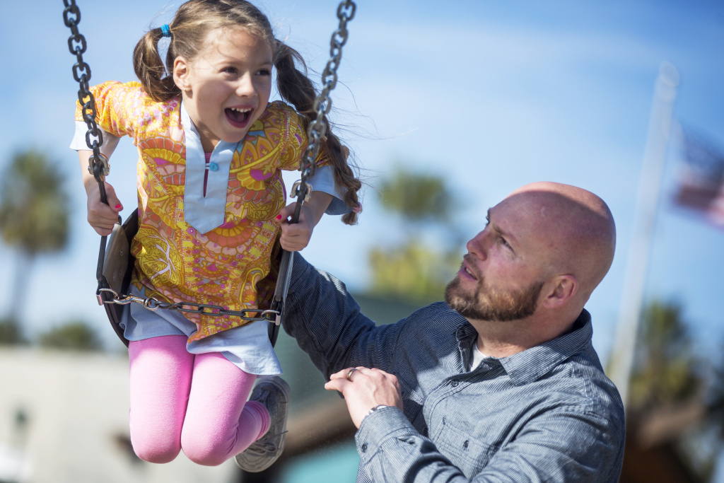 William Haight plays with his five-year-old mixed-race daughter, Soleil Haight, at the Venice Beach Boardwalk Playground on Tuesday afternoon, Jan. 17, 2017. Conversations about skin color come up regularly in the family's household.