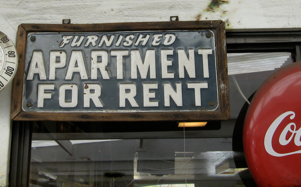 Signs like these are rare in Southern California, as demand for rental units outpaces supply.