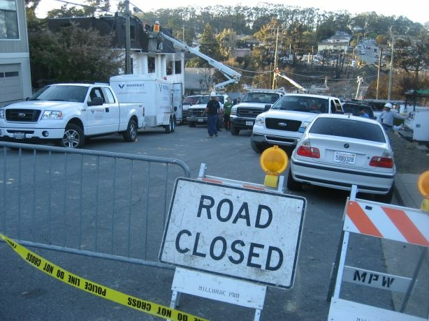 San Bruno police cordoned off the Glenview neighborhood where a natural gas pipeline exploded Sept. 9, 2010.